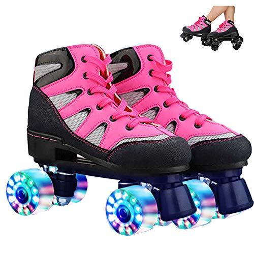 WuJiPeng Rollschuhe Für Erwachsene Rollschuhe Für Frauen Männer Quad Skates Für Jungen Mädchen Kinder Damen Rollschuhe Retro Design,Pink-38EU