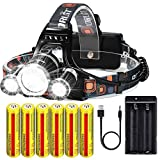 Brightest Rechargeable Headlamp 20000 Lumens, Waterproof Headlight Flashlight,Kit with 6PCS 3.7V High Capacity Rechargeable Battery+Batteries Charger+USB Cable,For Outdoor Sports Camping Running