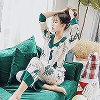 春の新薄手の綿サテンパジャマセットリリープリントフルスリーブレディースソフトパジャマ女性ホームウェアカジュアルウェア-White_Xl