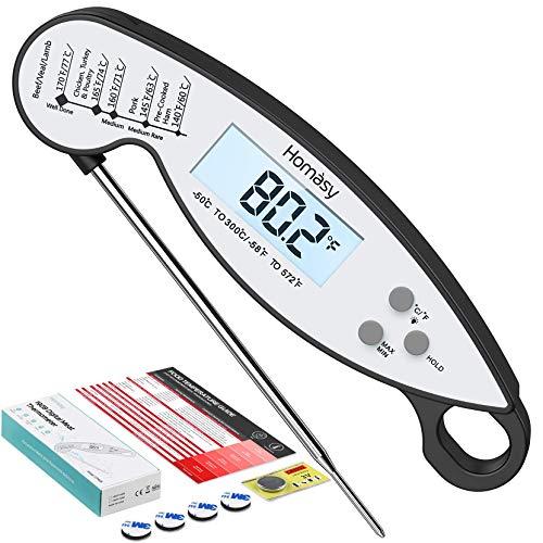 Homasy CP192B - Termometro digitale da cucina impermeabile IPX6 con display retroilluminato, in acciaio inox 304, sonda pieghevole per cucina, caramelle, tacchino, barbecue, latte, acqua, colore nero
