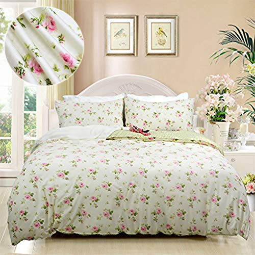FADFAY Target Dorm Duvet Cover Set Twin XL Pink Rosette Floral Gold Green Grid Dorm Bedding 100% Cotton High Qulity Hypoallergenic with Hidden Zipper Closure, Twin XL Size for Dorm Room 3-Pieces