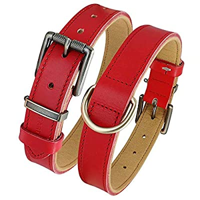 PET ARTIST Classic Leather Dog Collars for Small Medium Large Dogs, Soft Padded Leather Collar for Chihuahua Boxer Pitbull German Shepherd Walking, Red M(Neck fit:13.5-17.0'')