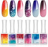 Modelones Gel Nail Polish- Mood Temperature Color Changing Gel Polish 10 ML Soak Off Pink Purple Glitter Nail Polish Gel Manicure Hot and Cold Ombre Holiday Christmas Beauty Gift Set DIY Home Salon