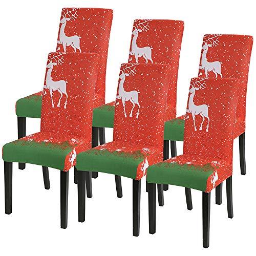 Heflashor - Juego de Fundas para sillas de Navidad Modernas Fundas de Sillas Elásticas 1/2/4/6 Piezas,Cubiertas Protectora de Sillas Universales para Comedor,Cocina,Hotel,Hogar Decor
