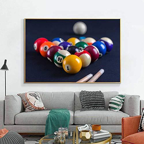 Artm Druck auf leinwand 50x70cm Kein Rahmen Blauer Billardtisch mit Bällen Sport Wandkunst Bilder Dekor