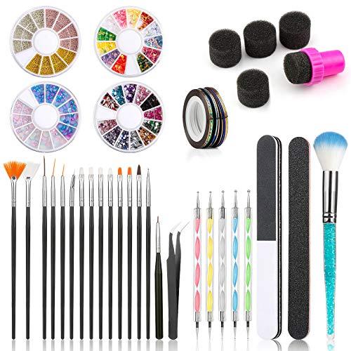 Wodasi Kit de Accesorios Decoración Uñas Nail Art, 43 Pcs Kit Accesorios Decoracion Uñas, Kit de Herramientas para Manicura de Uñas con 15 Pinceles para Uñas, Lápiz de Punto, etc