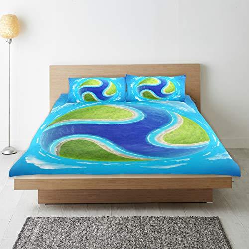 DEZIRO - Juego de funda de edredón para adolescentes, diseño creativo de globo verde puro de algodón natural, tamaño individual con 2 fundas de almohada para decoración de dormitorio de niños, juego de cama de 3 piezas