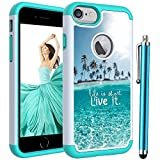 Case for iPhone 8 /iPhone 7 /iPhone 6S /iPhone 6,Voanice Shockproof Hybrid Heavy Duty Rugged Protective Hard Plastic&Soft Silicone Dual Layer Armor Protection Phone Case Women Men Girls Cover-Teal Sea