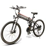 SAMEBIKE 26 Inch Tires Electric Bikes Folding Ebike 48V 500W Mountain Electric Bicycle for Adults (Black)