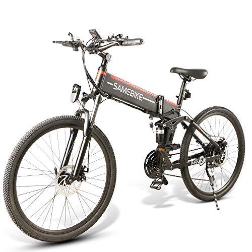 SAMEBIKE 26-Zoll-Reifen-Elektrofahrräder zusammenklappbar Ebike 48V 500W Mountain-Elektrofahrräder für Erwachsene (schwarz)