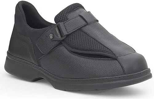 Zapato Hombre para DIABETICOS Marca CALZAMEDI, Horma Ancho 20, en Piel Farbe schwarz, Cierre Velcro, Doble Plantilla Extraible y Piso Cosido a Maquina de Poliuretano - 2125-77