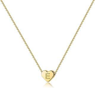 Heart Initial Necklace for Women - 14K Gold Filled Heart Pendant Letter Alphabet Necklace, Personalized Tiny Initial Necklace for Women Kids Child, Heart Monogram Necklace Best Gift for Girls