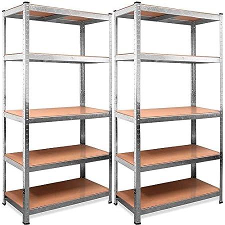 Set de 2 Estanterías Metálicas Galvanizadas 875Kg 5 Baldas modulares 180 x 90 x 40cm