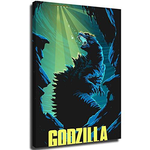 Lienzo decorativo para pared para sala de estar, Godzilla King of the Monsters, póster moderno en 3D, sala de estar, gimnasio, hotel, pasillo, restaurante, obras de arte de decoración de 61 x 91 cm