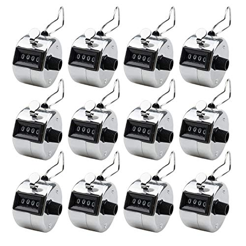 Foraineam 12 Pack Hand Tally Counters Digital Lap Counter Clicker Handheld 4 Digit Mechanical Number Click Counter
