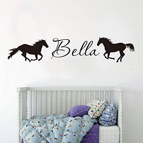 Muursticker met naambordje, personaliseerbaar, paard voor kinderen, personaliseerbaar, motief: paard, dier, stickers voor slaapkamer, school, kleuterschool, vinyl, decoratie voor thuis, lichtgrijs, 56 x 11 cm, hoge cooldeerydm