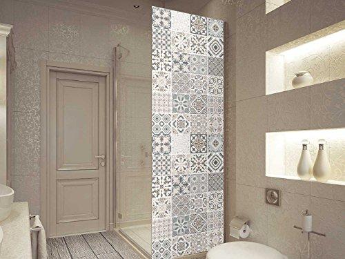 Oedim Vinyl Stickers Badezimmer Bildschirm Andalusischen Fliesen | Verschiedene Maße 200x70 cm| Klebstoffbeständig und Einfache Anwendung | Stilvoller Design-Dekorativer