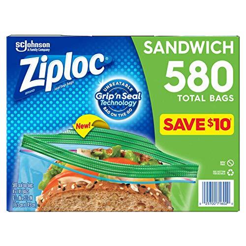 Ziploc Easy Open Tabs Sandwich Bags 580, 145 Count (Pack of 4)