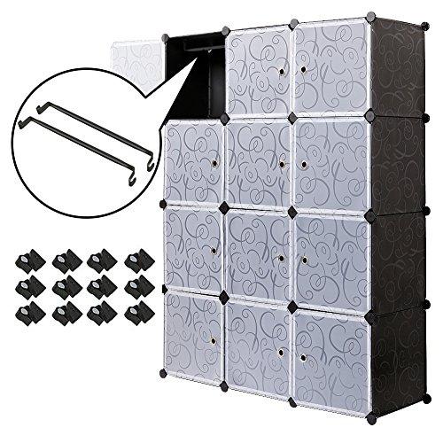 Meerveil Kleiderschrank, Garderobenschrank Kunststoff Steckregal DIY Modular Schrank Regalsystem mit 2 Kleiderstange (12-Kubus)