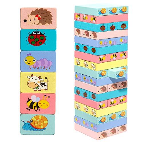 51 stücke Wackelturm Stapel Modell Baustein Spielzeug Pädagogisches Kinderspiel Brettspiel Spaß Turm Puzzle Stapelturm Holz Brettspiel Geschenke für Kinder Holz mit Farben und Tieren