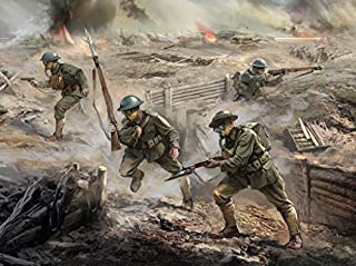 ICM 1/35 Scale US Infantry in Gas Masks (1918) (4 Figures) - WWI US Army Figures Model Building Kit # 35704