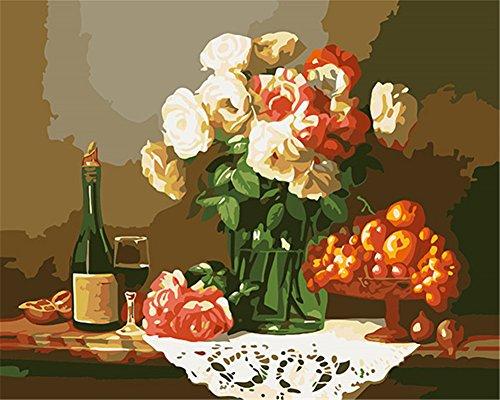 CaptainCrafts Nouvelle Peinture par numéros 16x20 pour Les Adultes, Enfants Toile - Love Still Table Fleurs Fruit du vin (avec Cadre)