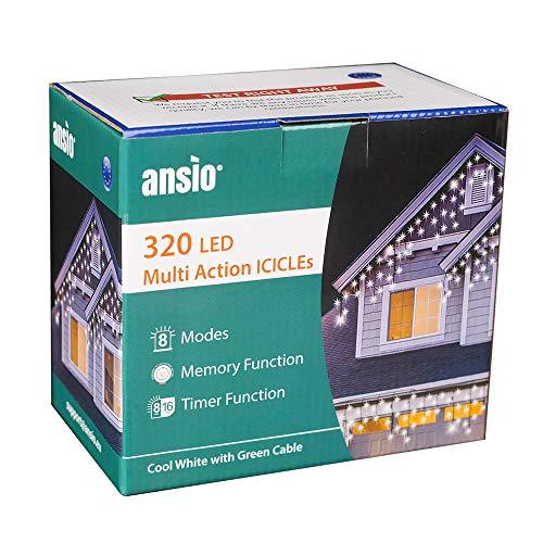 ANSIO 320 LED Bianco Freddo Tenda luminosa, Luci natalizie per interni e esterni, con 8 modalità luce/timer, Memoria, trasformatore incluso, 11 m lunghezza-Cavo verde