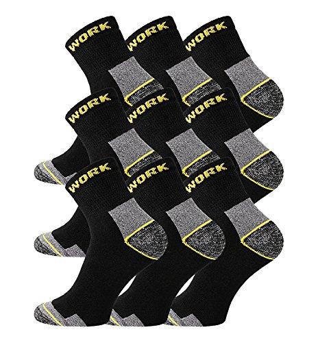 TippTexx24 Sehr robuste Arbeitssocken mit zusätzlicher Garantie, 6/9/12/15/18 oder 21 PAAR, normale Länge o. kurzer Schaft, Ökotex (Kurz 9 Paar, 39/42)