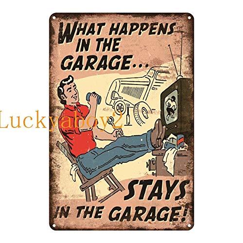 Ami0707 Plaque Vintage Vintage Shed Metal Sign Plaque My Garage My Rules Dad's GARAGE Retro Metal Tin Sign Car Repair Man Cave Wall Art Decor 20x30cm SW314