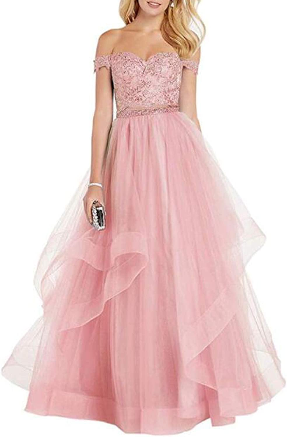 Alilith.Z Off The Shoulder 2 Piece Prom Dresses Beaded Appliques Tulle Formal Evening Dress Party Gowns for Women 2019 Long