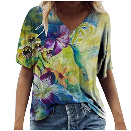 FNKDOR Elegant Casual T-Shirts Women's Summer Top Vintage Floral Printed Short Sleeve V Neck Plus Size Tops Novel Chic Print Tee Blouse