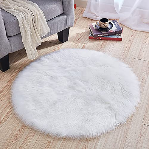 Villsure Ultra Soft Round Faux Sheepskin Fur Area Rug White Circular Shaggy Rug Round Fluffy Area Rugs Plush Circle Floor Carpet for Bedroom Living Room Floor Decor, 3x3 Feet