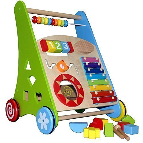 Lauflerner ~Activity Walker ~ Baby Walker aus Holz mit Xylophon und Holzsteckspiel