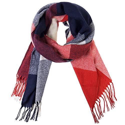 Damen Winter Schal Kariert übergroßer Quadratisch Deckenschal, Karo Tartan Streifen Plaid Muster XXL Oversized Fransen Poncho MEHRWEG (N5)