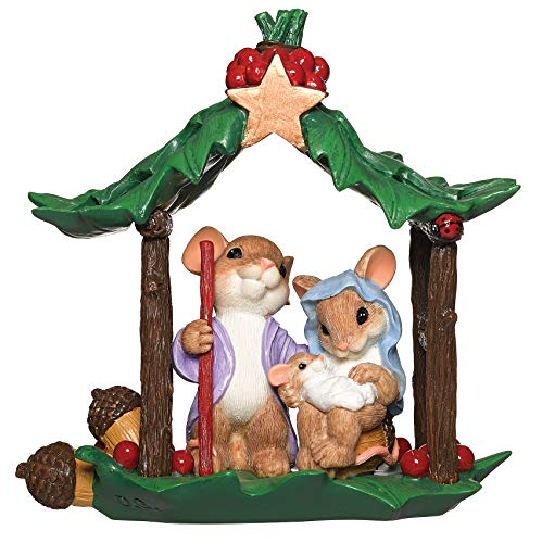 Roman - Charming Tails Collection, Holy Family Nativity Mice Figure, 5.25' H, Resin and Stone, Durable, Collectibles, Cute Decorative Figurine, Decor