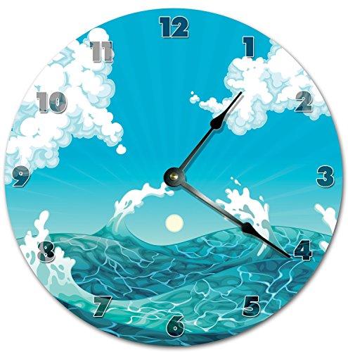 Tamengi Reloj de pared, increíble mar y cielo arte reloj azul reloj de sala de estar grande reloj de pared de madera reloj de decoración del hogar 10 pulgadas