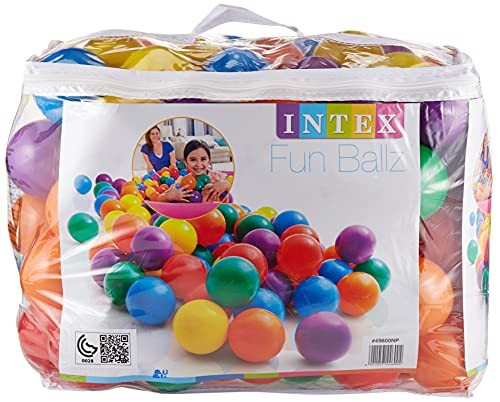Intex 3-1/8' Fun Ballz - 100 Multi-Colored Plastic Balls, for Ages 2+