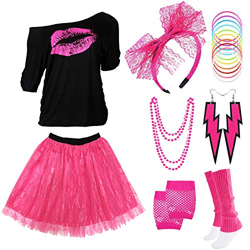 Z-Shop 80s Outfits Costume Accessories for Women - Pink Lips Print Off Shoulder T-Shirt,Lace Skirt for 80s Costumes,Hot Pink,L
