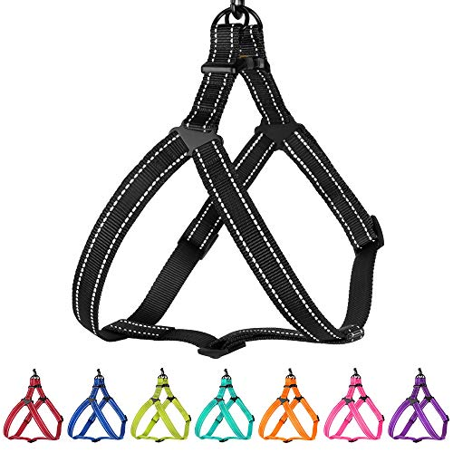 CollarDirect Reflective Dog Harness Step in Small Medium Large for Outdoor Walking, Comfort Adjustable Harnesses for Dogs Puppy Pink Black Red Purple Mint Green Orange Blue (Large, Black)