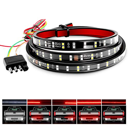 Nilight TR-02 60' Truck Tailgate Bar Double Row LED Flexible Strip Running Turn Signal Brake Reverse Tail Light,Red/White,No-Drilling