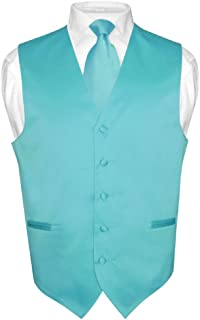 Men's Dress Vest & Necktie Solid Turquoise Aqua Blue Neck Tie Set for Suit Tux