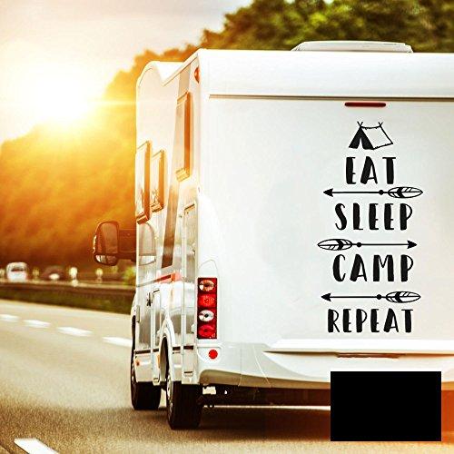 Autotattoo Camping Heckscheibenaufkleber Wohnwagen Sticker eat sleep camp repeat Autosticker Wohnmobil M2377 - ausgewählte Farbe: *schwarz* ausgewählte Größe: *S - 30cm hoch x 15cm breit*