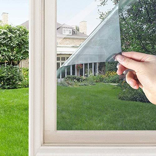 Film Miroir Fenetre Adhesif sans Tain Anti UV Film de Protection de la Vie Privée Anti Chaleur Anti-Regard Réfléchissant (Argent, 90*400CM)