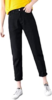 Womens Classic Straight High Waisted Denim Trousers Jeans Tapered Pants