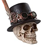 Steampunk Feathered Top Hat Skull with Steampunk Goggles Collectible Figurine Skull Decor by Pacific Giftware