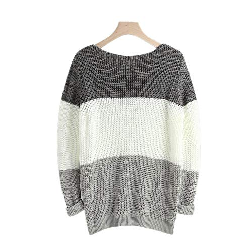 Bowen Jimmy Knitted Sweater Womens O-Neck Sweater Knitted Loose Tops Slim Fit Pullover Autumn Women Sweater Dark Gray L