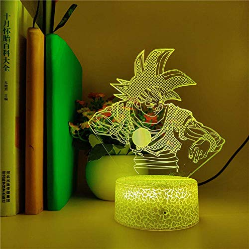 Lámpara De Ilusión 3D Luz De Noche Led Dragon Ball Goku Kamehameha Para Decoración De Habitación Lámpara De Mesa Usb Con Cambio De 7 Colores