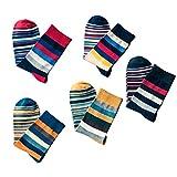 Photo de Tinksky 5Pairs Hommes Chaussettes Stripe Chaussettes en Coton Mi-Longues Chaussettes Anti-Skid Chaussettes Confortable pour Hommes Colorées par