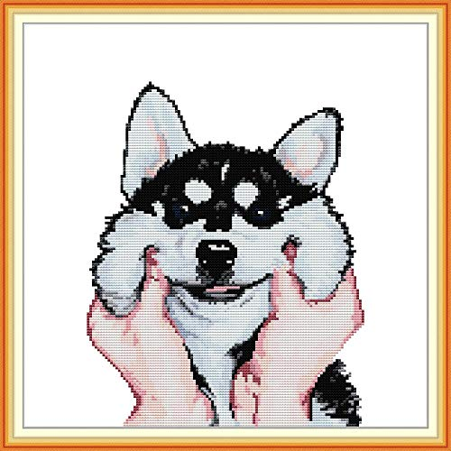 Stamped Cross Stitch Kits for Adult Beginners and Kids 14CT Printed Embroidery with Funny Animal Pattern & Sewing Guide Needlepoint Starter Kit, for Home Decor and Gifts - Adorable Husky 13.4'x11.8'
