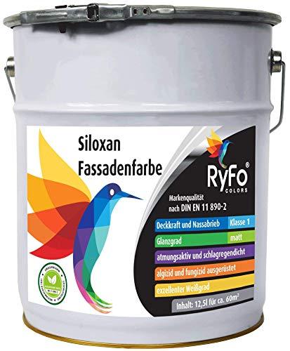 RyFo Colors Siloxan Fassadenfarbe 12,5l (Größe wählbar) - Hochwertige Silikon-Harz Außenfarbe, Emulsion, Weiß, Abtönbar, Lösemittelfrei, Deckkraft und Nassabrieb Klasse 1